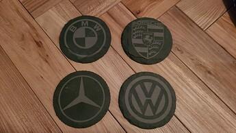 slate car logo coasters