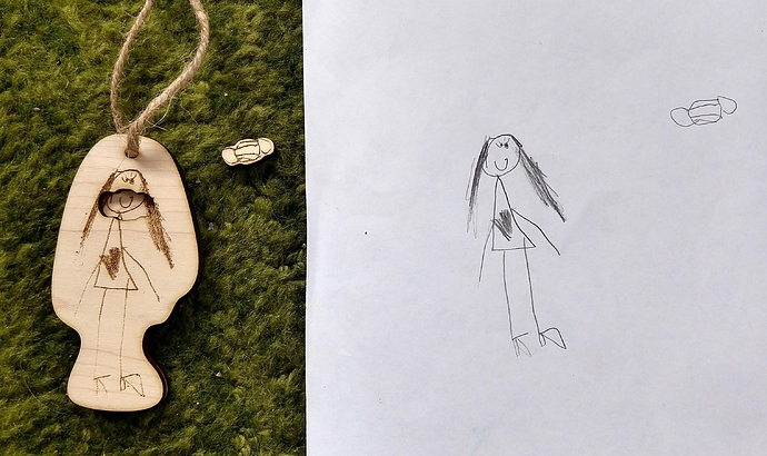 Sarah's ornament 2020 with original drawing