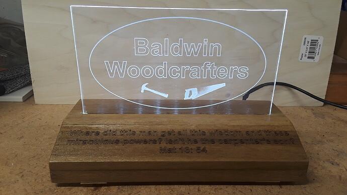 Baldwin Woodcrafters Plaque