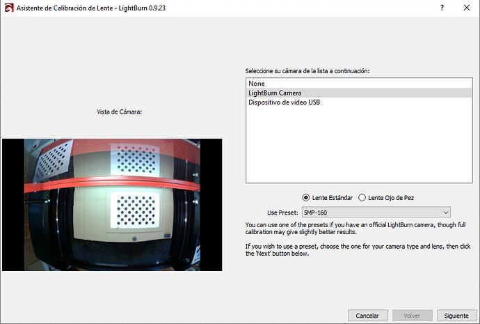 Asistente de Calibración de Lente - LightBurn 0.9.
