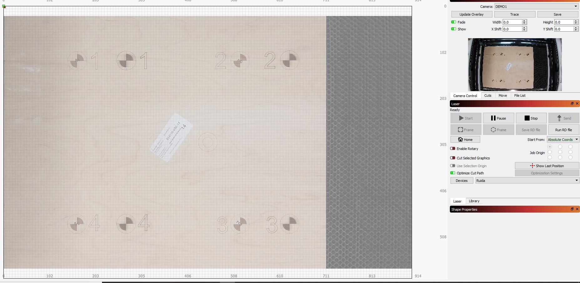 Camera calibration/alignment issues - Ruida controllers - LightBurn