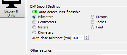 DXF Import setting