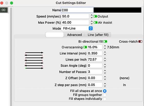 Cut Settings EditorZ7A-SM2 Lightburn-Cut Settings Editor