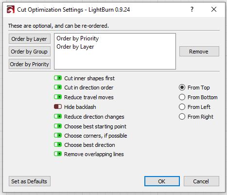 Screenshot - Black  optimisation settings