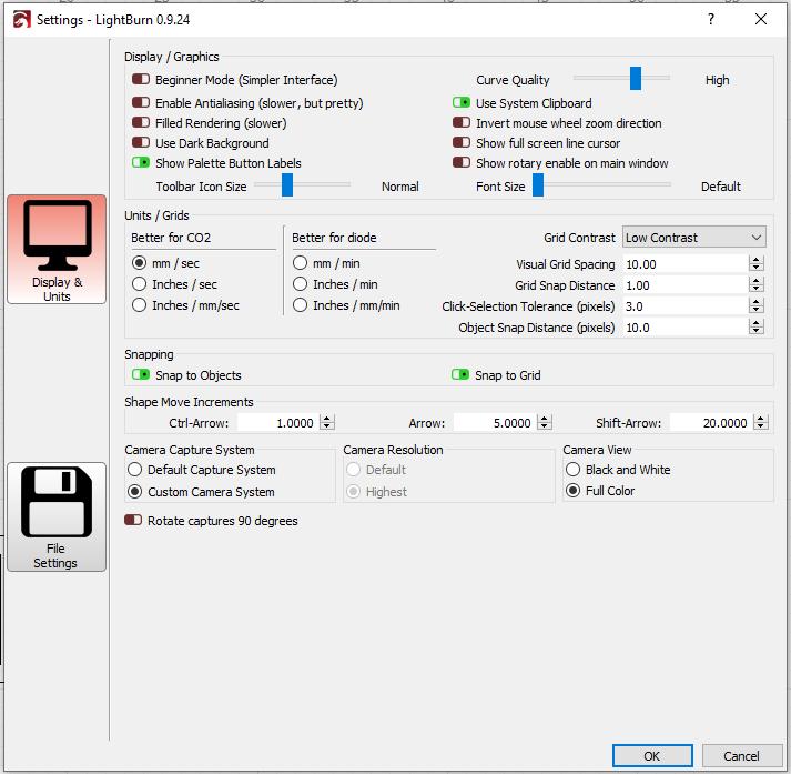 Screenshot - Black  Lightburn settings